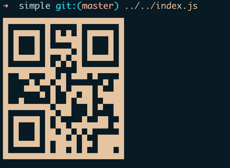 A screenshot of the lorem ipsum QR code in the terminal