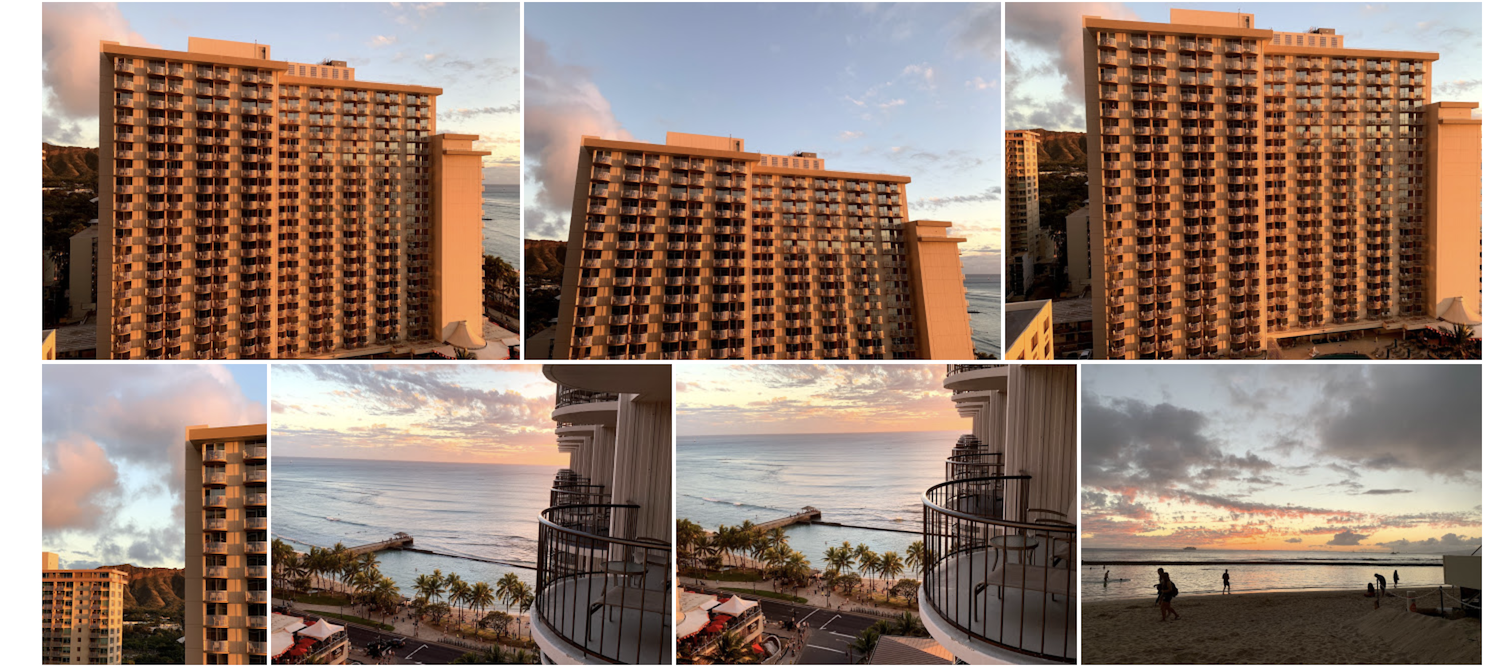 Views of the hotel & the beach at sunset