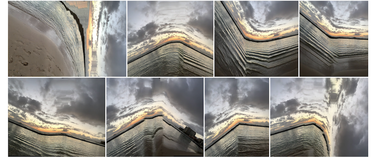 A grid of photos of the beach looking like its stretching out